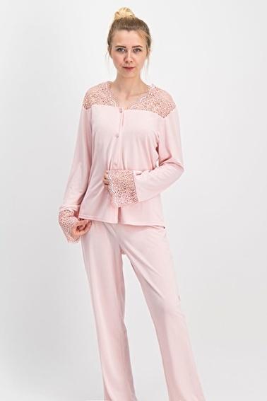Arnetta Simple Bride Kadın Gelin Pijama 2'Li Çeyiz Seti Pudra